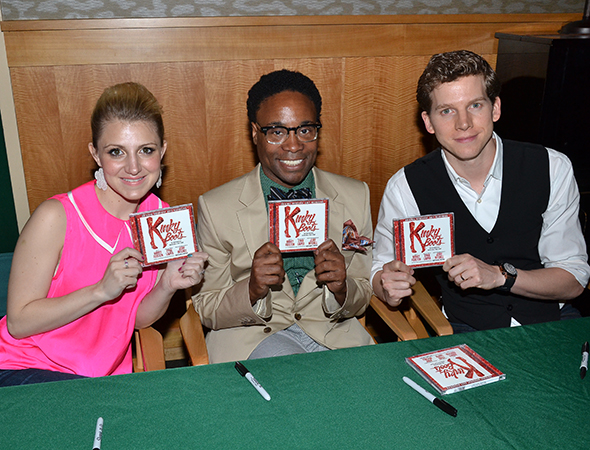 2013 Tony Award nominees Annaleigh Ashford, Billy Porter, and Stark Sands show off the brand new <i>Kinky Boots</i> album.<br />(© David Gordon)