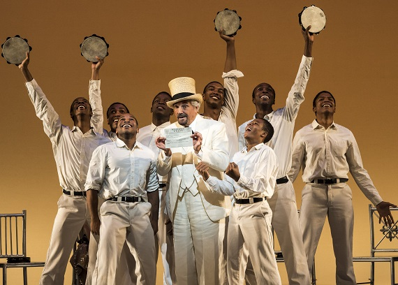 The cast of <i>The Scottsboro Boys</i> at the Ahmanson Theatre
