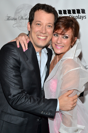 Soap star Colleen Zenk snuggles up to John Tartaglia, a 2004 Theatre World Award winner for <i>Avenue Q</i> and director of the 2013 ceremony.<br />(© David Gordon)