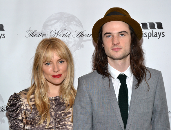 2013 Theatre World Award winner Tom Sturridge (<i>Orphans</i>) brought his fiancée, Sienna Miller, to help him celebrate his honor.<br />(© David Gordon)