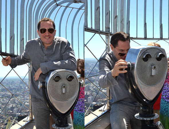 <i>Matilda</i>'s Bertie Carvel poses with his new favorite toy, the Observation Deck binoculars.<br />(© David Gordon)