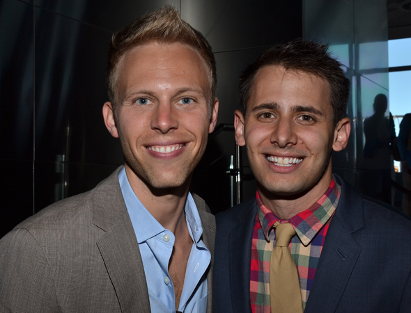<i>A Christmas Story</i> scribes Justin Paul and Benj Pasek smile for the cameras.<br />(© David Gordon)