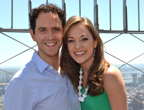 <i>Cinderella</i> stars Santino Fontana and Laura Osnes show off their Tony smiles.<br />(© David Gordon)