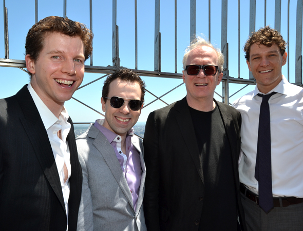 Sunglasses come in handy for Rob McClure and Tracy Letts (center), though Stark Sands (left) and Gabriel Ebert (right) don't need them.<br />(© David Gordon)