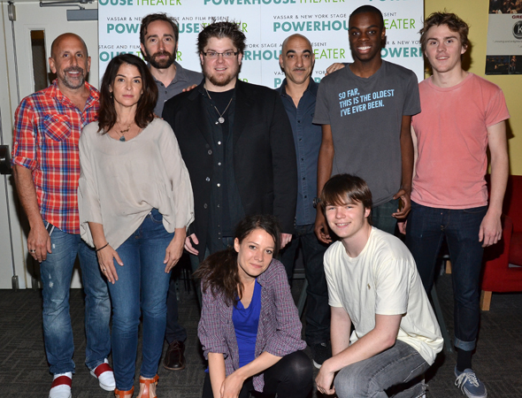 The cast of the new play <i>Downtown Race Riot</i>, which is written by Seth Zvi Rosenfeld, directed by Scott Elliot, and stars Annabella Sciorra.<br />(© David Gordon)