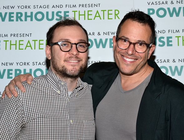 Composer/lyricist Peter Lerman and director Michael Mayer, two members of the creative team of a new musical inspired by the Brooklyn Hero Supply Company and characters created by Michael Chabon and Aylelet Waldman.<br />(© David Gordon)