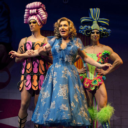 Tony Sheldon, with Will Swenson and Nick Adams, in <i>Priscilla Queen of the Desert the Musical</i>