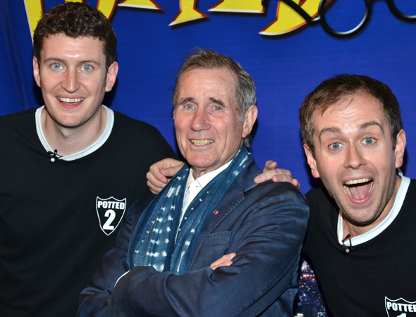 Daniel Clarkson and Jefferson Turner flank the evening's special guest, Jim Dale.<br />(© David Gordon)