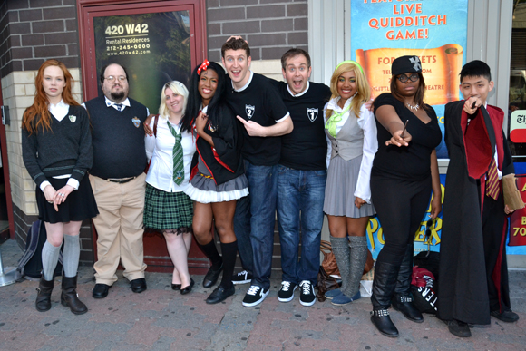 Dan and Jeff join a group of costumed <i>Potted Potter</i> fans to show off their wizarding skills.<br />(© David Gordon)