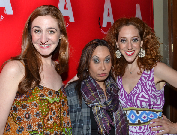 Jacquelyn Landgraf, Kate Rigg, and Alison Cimmet are among the cast members of the Atlantic's other currently running show, John Guare's <i>3 Kinds of Exile</i>.<br />(© David Gordon)