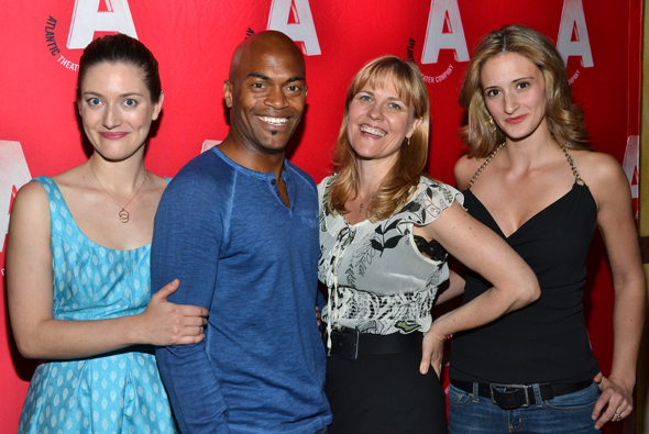The women of <i>Good Television</i>: Zoe Perry, Kelly McAndrew, and Jessica Cummings, flank their costar, Andrew Stewart-Jones.<br />(© David Gordon)