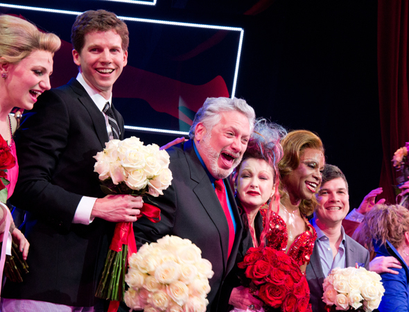 Harvey Fierstein (center) with the cast of <i>Kinky Boots</i>, nominated for 13 Tony Awards.