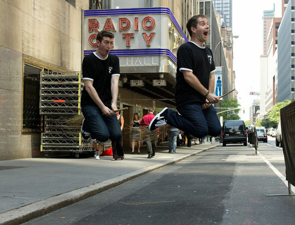 Daniel Clarkson and Jefferson Turner Pottering in front of Radio City Music Hall, home of the 2013 Tony Awards.