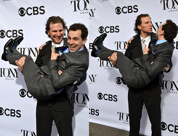 Sebastian Arcelus and Rob McClure get close on the red carpet.<br />(© David Gordon)