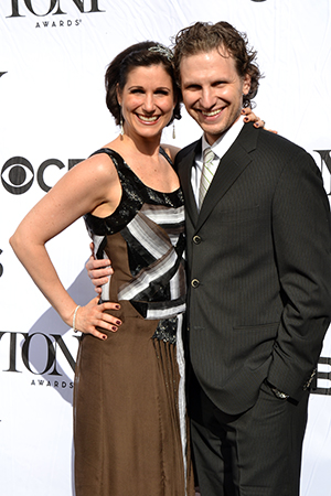 Stephanie J. Block smiles alongside her husband, Sebastian Arcelus.<br />(© David Gordon)