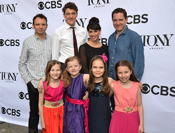 The <i>Matilda</i> family: (back row) director Matthew Warchus and cast members Gabriel Ebert, Lesli Margherita, and Bertie Carvel; (front row) Sophia Gennusa, Milly Shapiro, Oona Laurence, and Bailey Ryon.<br />(© David Gordon)