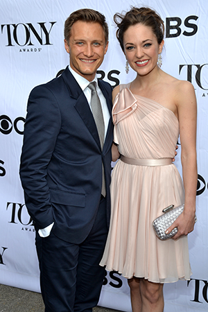 <i>Cinderella</i>'s Laura Osnes arrives with her real-life prince, Nathan Johnson.<br />(© David Gordon)