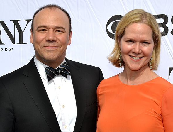 <i>Golden Boy</i> nominee Danny Burstein attends the cocktail party with his wife, Rebecca Luker.<br />(© David Gordon)