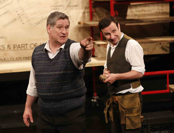 Dan Gordon and Michael Condron in <i>The Boat Factory</i>, part of Brits Off Broadway at 59E59 Theaters.