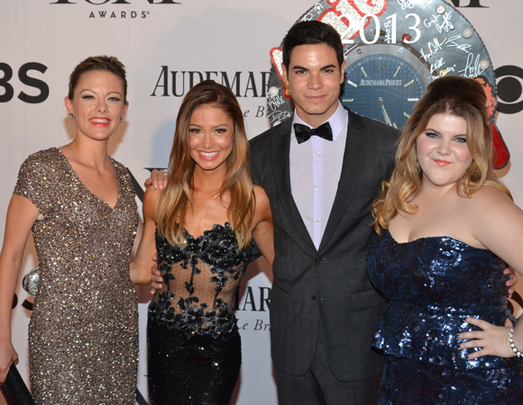Kate Rockwell, Elle McLemore, Jason Gotay, and Ryann Redmond of <I>Bring It On The Musical</I>, which is nominated tonight for Best Musical.<br />(© David Gordon)