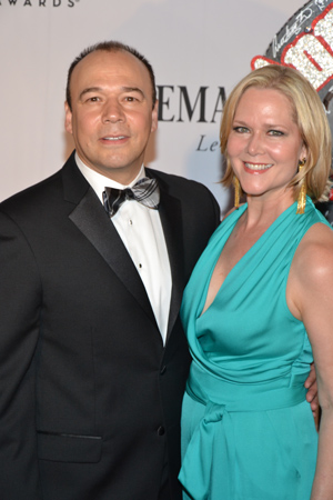 Best Performance by an Actor in a Featured Role in a Play nominee Danny Burstein poses with wife, Rebecca Luker. <br />(© David Gordon)