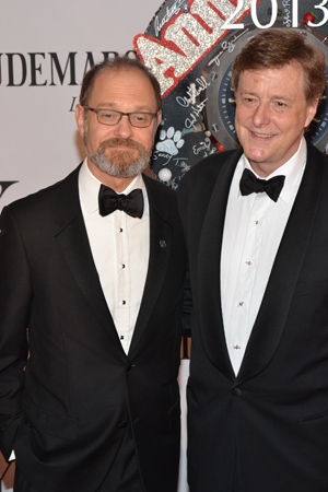 David Hyde Pierce, who is nominated for Best Performance by an Actor in a Leading Role in a Play for <I>Vanya and Sonia and Masha and Spike</I>, poses with husband, Brian Hargrove.<br />(© David Gordon)