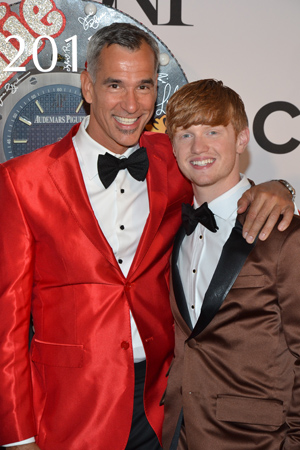 <I>Kinky Boots</I> director and choreographer Jerry Mitchell is nominated in both categories tonight. Here he is with boyfriend, Ricky Schroeder. <br />(© David Gordon)