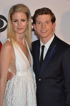 Best Performance by an Actor in a Leading Role in a Musical nominee Stark Sands poses with his wife, Gemma Clarke. <br />(© David Gordon)
