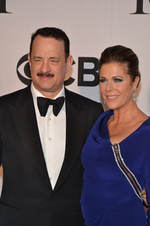 Two-time Academy Award winner Tom Hanks poses with wife, Rita Wilson. Hanks is nominated tonight for Best Performance by an Actor in a Leading Role in a Play for his Broadway debut, <I>Lucky Guy</I>. <br />(© David Gordon)
