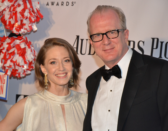 Carrie Coon poses with her <I>Who's Afraid of Virginia Woolf?</I> castmate Tracy Letts, who is nominated for Best Performance by an Actor in a Leading Role in a Play.<br />(© David Gordon)
