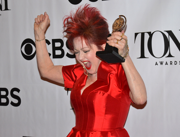 Cyndi Lauper is thrilled to have won Best Score for <i>Kinky Boots</i>.<br />(© David Gordon)
