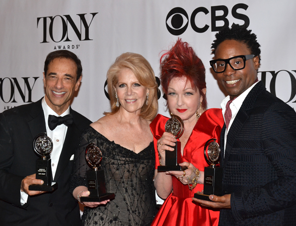 <i>Kinky Boots</i> producers Hal Luftig and Daryl Roth with Cyndi Lauper and Billy Porter<br />(© David Gordon)