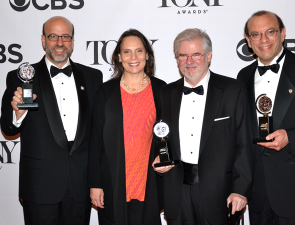 Christopher Durang (third from left), with the producers of <i>Vanya and Sonia and Masha and Spike</i>: (from left) Larry Hirschhorn; Emily Mann, who commissioned the play for the McCarter Theatre; and Joey Parnes.<br />(© David Gordon)