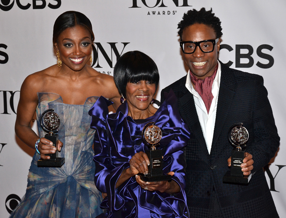 Acting winners Patina Miller, Cicely Tyson, and Billy Porter<br />(© David Gordon)