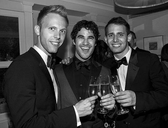 Justin Paul, Darren Criss, and Benj Pasek toast a wonderful night (that also happened to be Benj's birthday).<br />(© David Gordon)