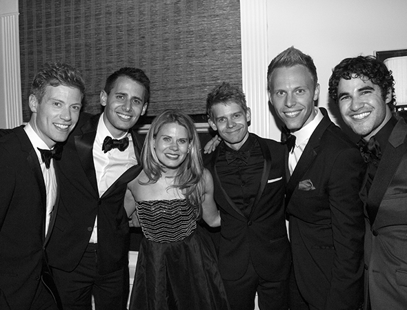 A University of Michigan group shot, with talented alums Barrett Foa, Benj Pasek, Celia Keenan-Bolger, Andrew Keenan-Bolger, Justin Paul, and Darren Criss.<br />(© David Gordon)