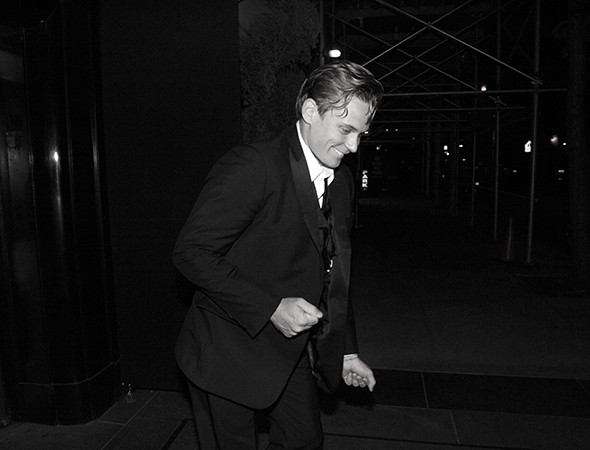 Even on the street, Billy Magnussen is always the life of the party. <br />(© David Gordon)