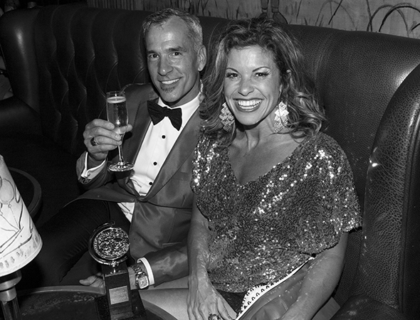 Jerry Mitchell toasts his win for Best Choreography with his pal, Broadway hoofer Rachelle Rak.<br />(© David Gordon)