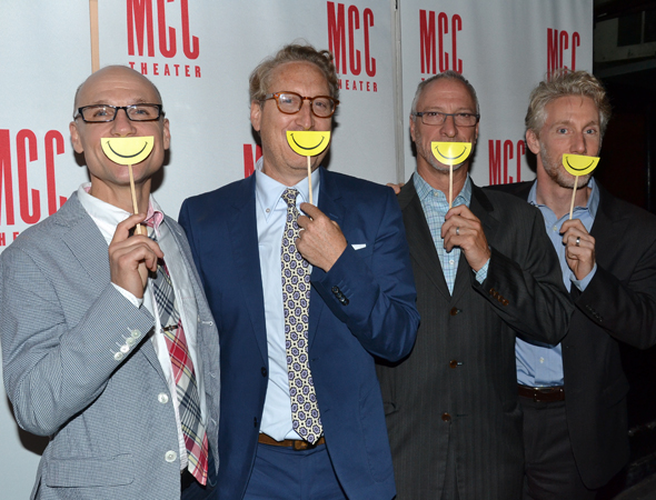 MCC's head honchos, Will Cantler, Bernie Telsey, Robert LuPone, and Blake West, show off their happy smiles.<br />(© David Gordon)