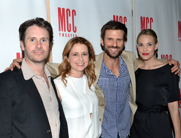 The cast of <i>Reasons to Be Happy</i>: Josh Hamilton, Jenna Fischer, Fred Weller, and Leslie Bibb.<br />(© David Gordon)