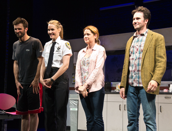 Fred Weller, Leslie Bibb, Jenna Fischer, and Josh Hamilton take their curtain call on stage at the Lucille Lortel Theatre.<br />(© David Gordon)