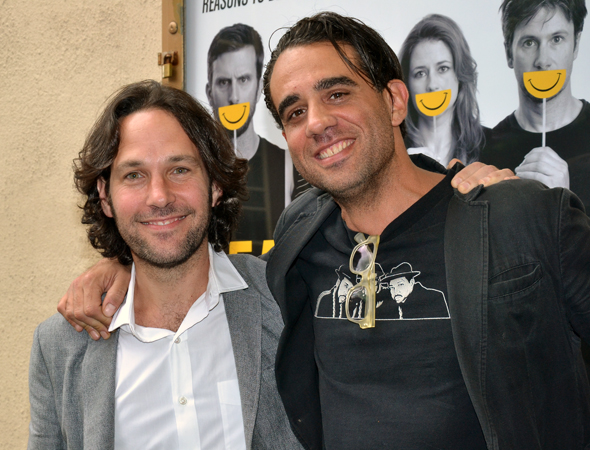 Paul Rudd and Bobby Cannavale spend a boys' night at <i>Reasons to Be Happy</i>.<br />(© David Gordon)