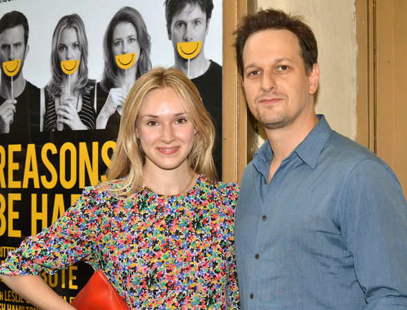 Josh Charles (<i>The Good Wife</i>) arrives at the Lucille Lortel Theatre with his wife, Sophie Flack.<br />(© David Gordon)