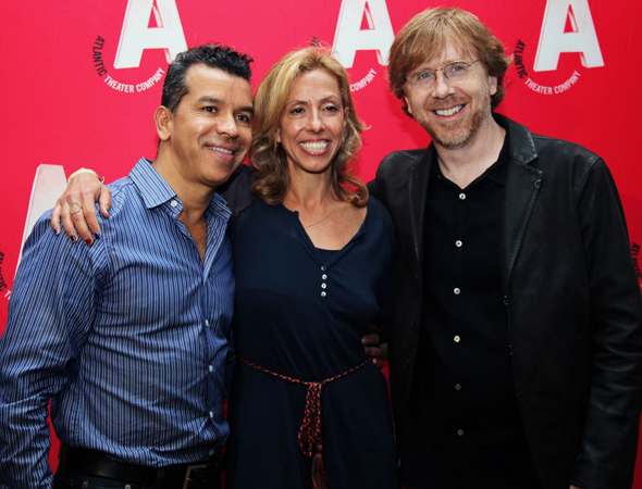 Sergio Trujillo, Amanda Green, and Trey Anastasio are on hand to cheer for their <i>Hands on a Hardbody</i> director, Neil Pepe.<br />(© Annie Govekar)