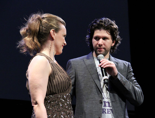 Balagan Theatre Artistic Director Louis Hobson introduces Tony Award winner Alice Ripley as Margaret White in the upcoming production of <i>Carrie: The Musical</i> at Balagan Theatre's season preview party.<br />(© Jeff Carpenter)