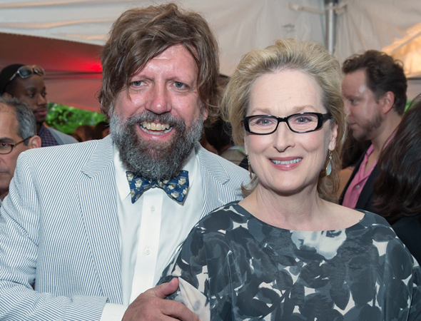 Public Theater Artistic Director Oskar Eustis shares a photo with tireless Public supporter and production veteran Meryl Streep.<br />(© Simon Luethi)