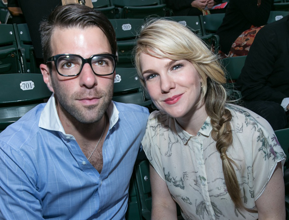 Recent <i>American Horror Story: Asylum</i> costars Zachary Quinto and Lily Rabe are ready for an evening of Gilbert and Sullivan.<br />(© Simon Luethi)