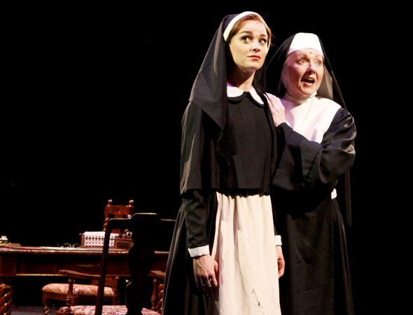 Lisa O'Hare (Maria) with Suzanne Ishee (Mother Abbess), singing the inspirational