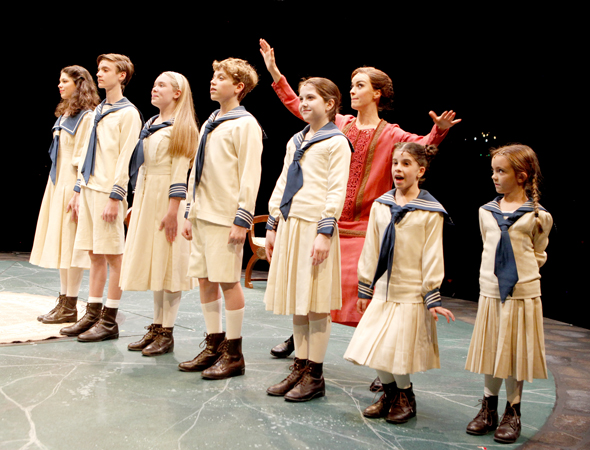 Lisa O'Hare as Maria, teaching the von Trapp children how to sing with the iconic