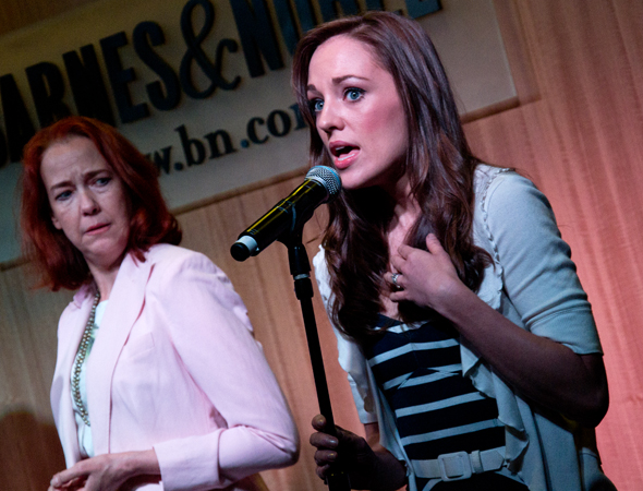 "Laura Osnes and Harriet Harris share a moment as they're ""Driving Through the Moonloght.""<br />(© David Gordon)"